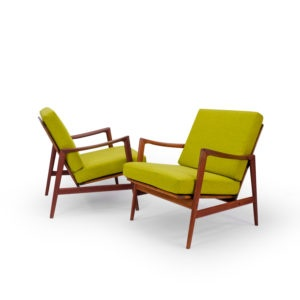 Vintage Dutch Lounge Chairs in wool