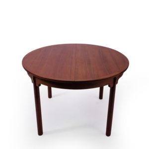 Vintage Teak Round dining table with Brass Details, mid century modern