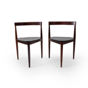 Vintage Danish Teak Side Chairs for Frem Rojle by Olsen, three legged.