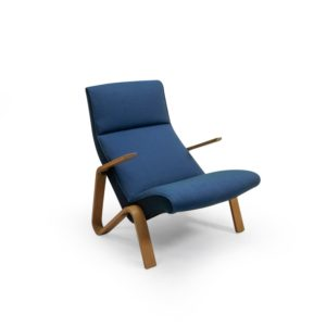 Wohnbedarf Knoll Saarinen Grasshopper Armchair production in Blue Fabric