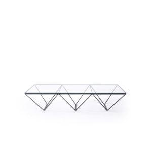 1980s Glass top coffee table metal base, vintage